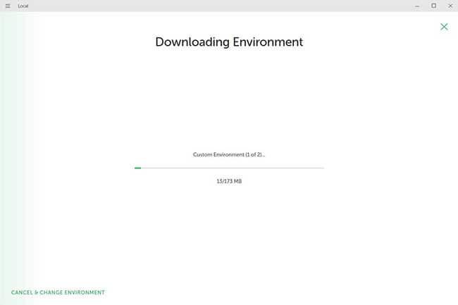 選択した環境のダウンロード