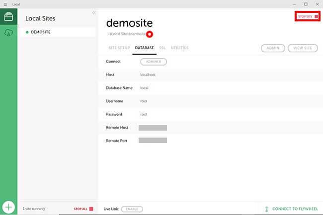 Local by Flywheelの管理画面からデータを開く