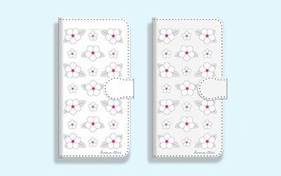 花(日々草)柄 手帳型スマホケース