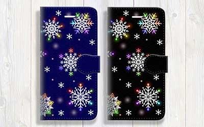 雪の結晶柄 手帳型スマホケース